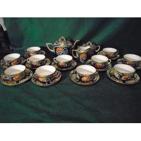 Soberbio Juego De Te Porcelana China Canton Sellado Unico Juegos