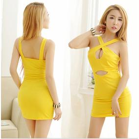 4abe14e85 Sexy Vestido Corto Amarillo Elastano Moda Sin Manga