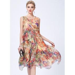 Vestido Vintage Verão Em Chiffon