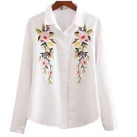 Camisa Bordada Importada Mujer Blanca Con Flores