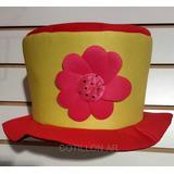 Sombrero Galera Combinada En Tela Con Flor Para Cotillón dd2f8818f1e