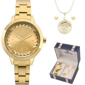Kit Relógio Allora Feminino Colar E Brincos Al2036fgr/k4m