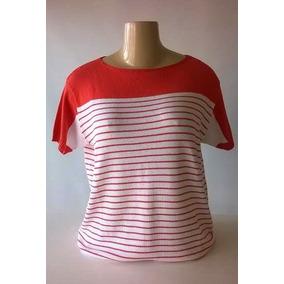 Blusa Tricô Modal Listrada M G Gg Tamanho Grande Plus Size