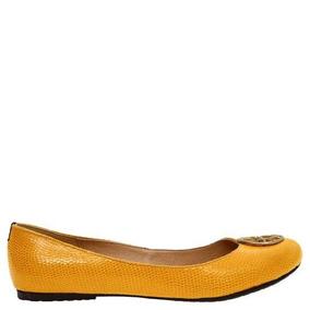 Zapatos Flats Amarillos Dama Balerina Con Herraje Marianka