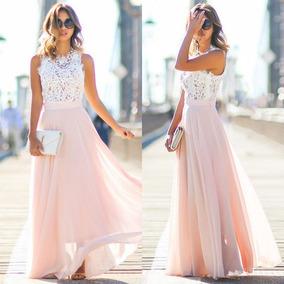 Vestido De Fiesta Largo Gasa Y Encaje Rosa Elegante Sexy