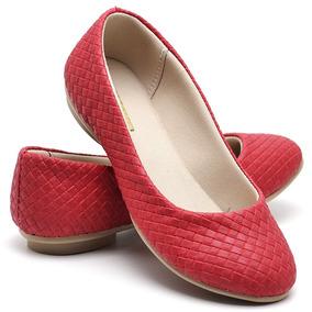 Sapatilha Feminina Sapato Menina Rasteira De Couro Confort