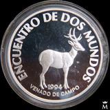 Mg* Uruguay Encuentro 2 Mundos Venado Moneda Plata Sin Circ.