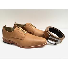 Zapatos De Cuero Base De Suela Hombre + Cinturón + Regalos