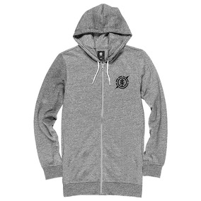 Buzo Campera Element Long Zip Hood Gris Hombre