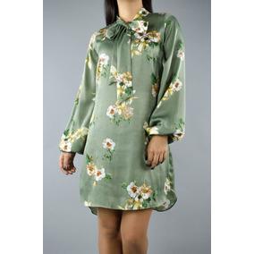 Vestido Silk Flores Mexicanas Moño Linea A Seda Silk Rosas