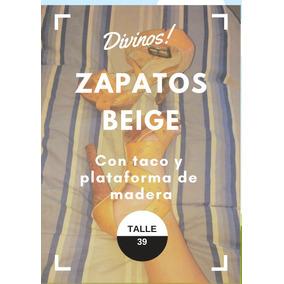 Sandalias Beige Con Taco Y Plataforma De Madera