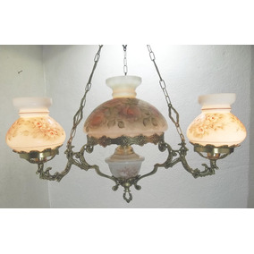 Lustre Lampião Luminaria Opalina Antiga Pintada À Mão