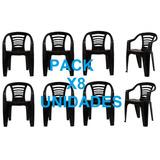 Pack X8 Sillas Plastica Apilable Jardin Global Blanca/negra