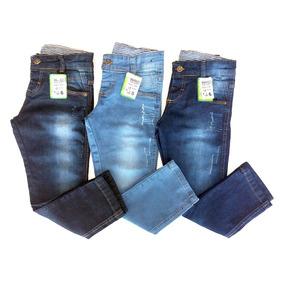 Kit Com 3 Calças Jeans Infantis Para Meninos De 2 A 8 Anos