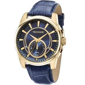 Relógio Masculino Technos Grandtech Multifunção Couro Azul