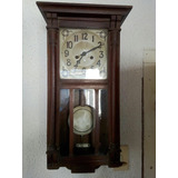 Antiguo Reloj De Pared De Roble Funciona Impecable