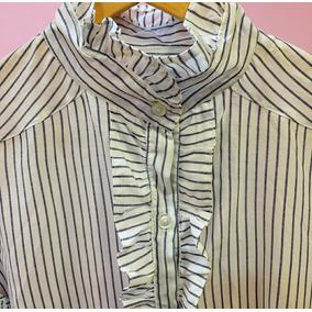 Camisas Rayadas De Poplin Con Volados Y Cuello Mao
