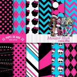 Kit Imprimible Monster High Pack Fondos Papel Digital Jpg