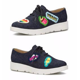 Sneakers Oxford Andrea Tenis Mezclilla Parches Pop Art 5546