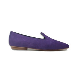 Natacha Zapato Mujer Mocasín En Punta Gamuza Violeta #141