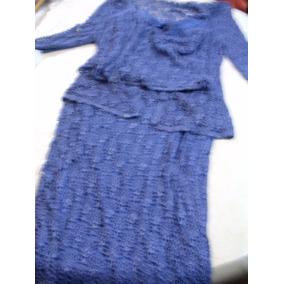 Conjunto 3 Piezas Lila Falda Saco Ml Crochet Hilo De Seda