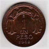 Ch Moneda De Chile Año 1948 Valor Un Peso Cobre Antiguo