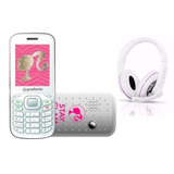 Kit Celular Infantil Barbie C90 + Fone Gradiente Branco/rosa