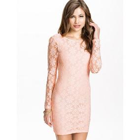 Vestido Encaje Color Rosa Espalda Descubierta