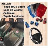 Kit Capa 100% Couro Tapete Volante Pedal Palio Uno Siena