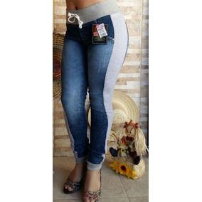 9d2b5b0143 Calça Jeans Feminina Destroyed Cós E Punho De Moletom