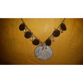 Collar Gargantilla Cadena Bronce Y Medallon Nacar.san Isidro