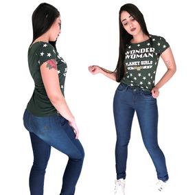 Calça Jeans Skinny Escura Cintura Alta Planet Girls