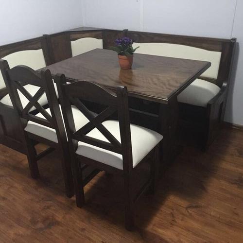 Juego de comedor esquinero nacional en madera maciza for Muebles importados uruguay