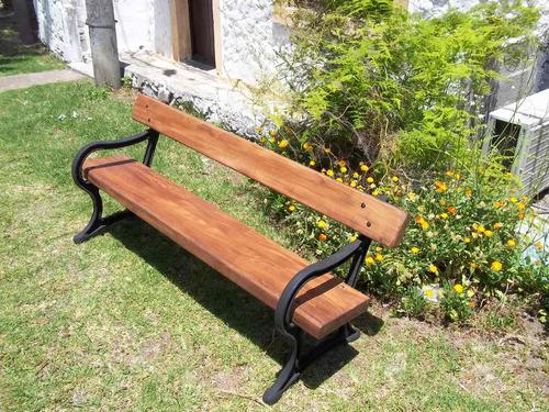 Banco de hierro fundido y madera para jardin for Muebles de jardin uruguay