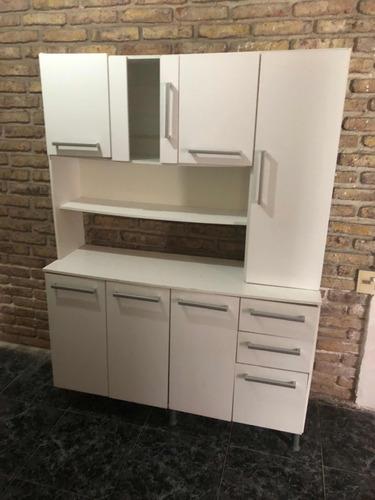 Mueble Modular Cocina Blanco Con Vidrio - $ 1.500,00 en Mercado Libre