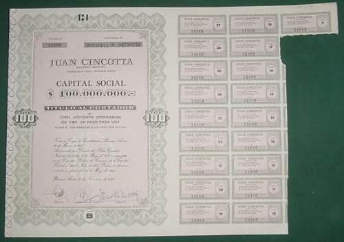 accion juan cincotta cien acciones titulo portador 1976