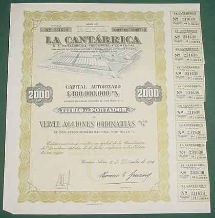 accion la cantabrica 20 acciones metalurgica industrial 1959