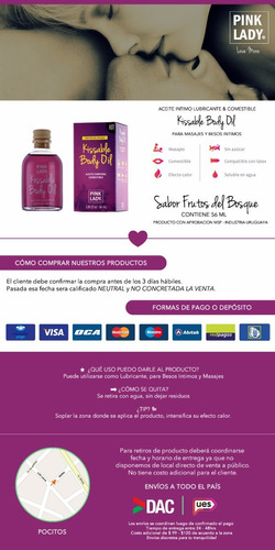 aceite intimo comestible lubricante hot effect frutos