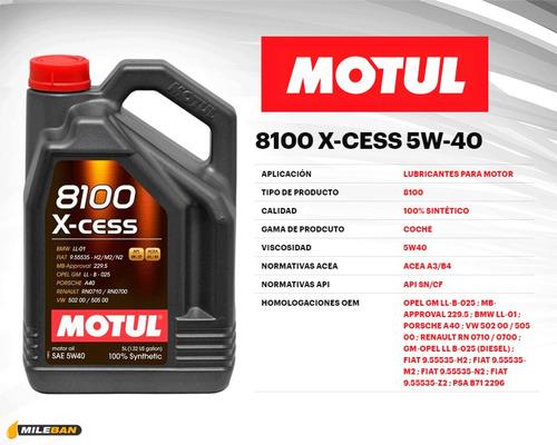 aceite sintetico 100% motul 5w40 8100 5 lts c/obsequio