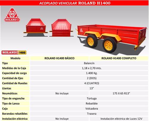 acoplado vehicular roland h1400 kg, carro 2 ejes balancin