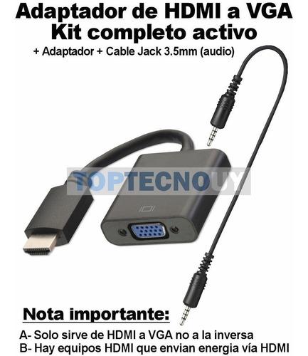 adaptador conversor convertidor hdmi a vga con audio activo®
