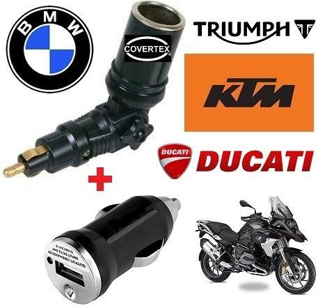 adaptador moto 12v+ usb bmw,triumph,ktm,ducati cargador