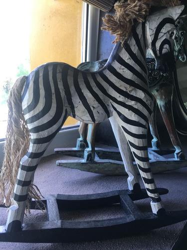 adorno talla madera caballo mecedor zebra espejo antiguo
