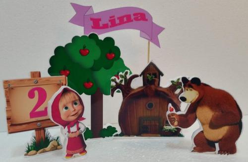 adornos para pinchar y decorar tortas masha y el oso