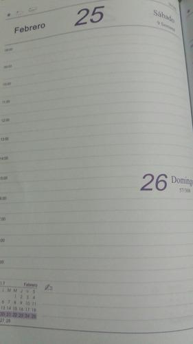 agenda 2019 un día por página tapa símil cuero