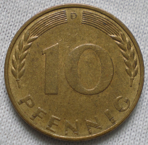 alemania 10 pfennig monedas año 1969j 1970d 1991a km#108 c/u