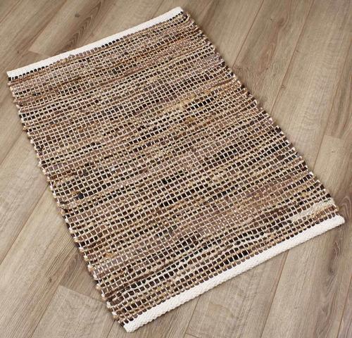 alfombra jute cuero - 60x90 tiendas montevideo