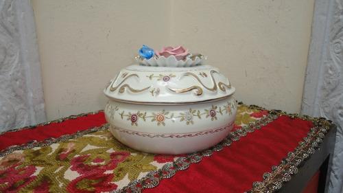 alhajero porcelana antiguo japones flores relieve miralo