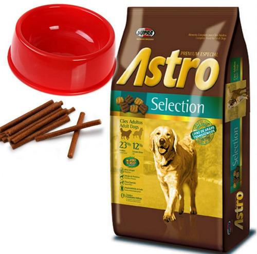 alimento astro selection adulto 7kg + plato + snacks! envio