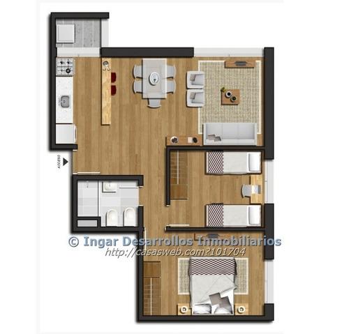 alquiler apartamento a estrenar! 2 dormitorios y garaje